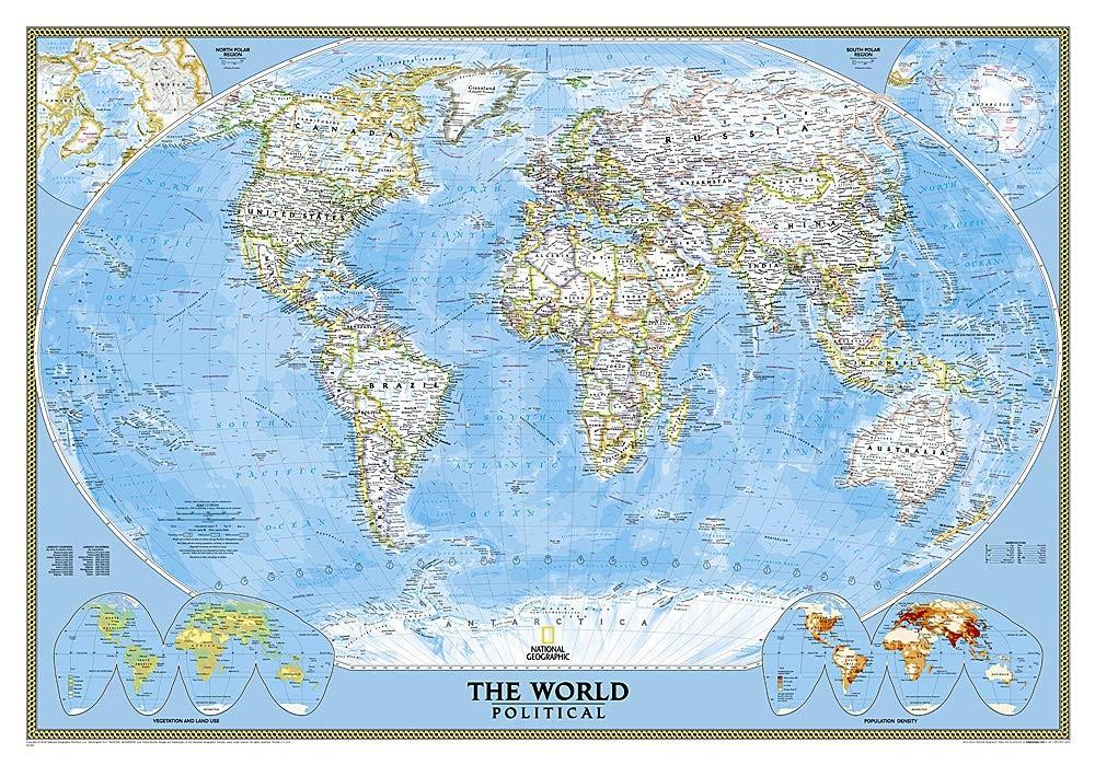 A Világ (The World) falitérkép 111*77 cm - tűzdelhető keretezett