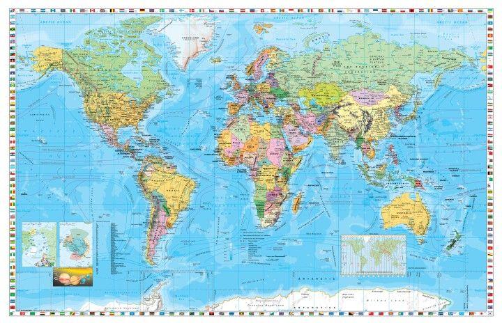 A Világ (The World) falitérkép 140*90 cm - tűzdelhető keretezett