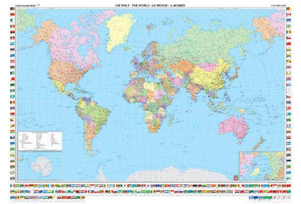 A Világ (The World) falitérkép 122*88 cm - laminált vagy lécezett