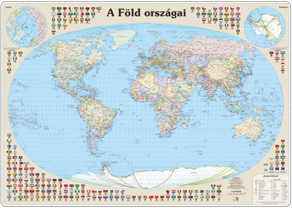 A Föld országai falitérkép 125*90 cm - tűzdelhető keretezett