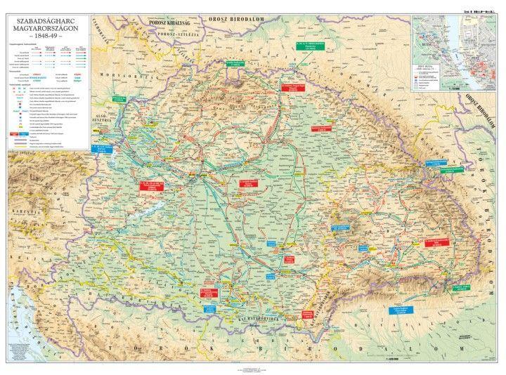magyarország 1848 térkép Forradalom és szabadságharc 1848 49. DUO falitérkép 160*120 cm  magyarország 1848 térkép