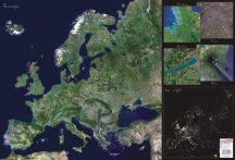 Európa műholdas térképe 65*45 cm - asztali könyöklő