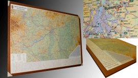 Magyarország autótérkép 140*100 cm falitérkép - térképtűvel szúrható, keretezett