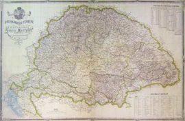 Magyarország Közigazgatási Térképe 1870 (Lónyai) 140*100 cm