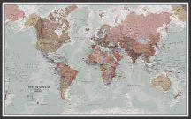 A Világ (The World) falitérkép 136*84 cm történelmi stílus - térképtűvel szúrható, keretezett