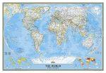 A Világ (The World) falitérkép 175*122 cm - tűzdelhető keretezett