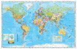 A Világ (The World) falitérkép XXL 216*147 cm - íves papír vagy fóliás