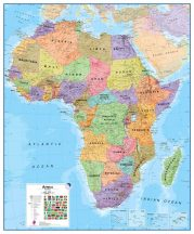 Afrika közigazgatás falitérkép 110x120 cm - íves papír