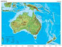 Ausztrália és Óceánia domborzata + vaktérkép, DUO 160*120 cm, laminált, faléces