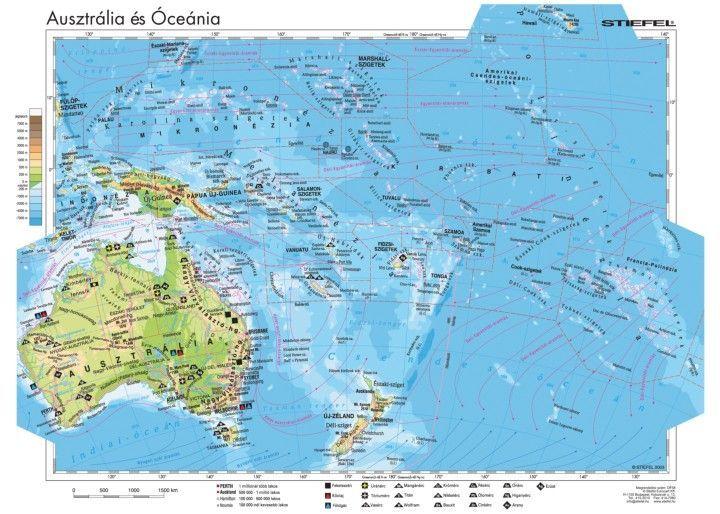 óceánia térkép Ausztrália és Óceánia gazdasága, 140*100 cm, laminált, faléces   A