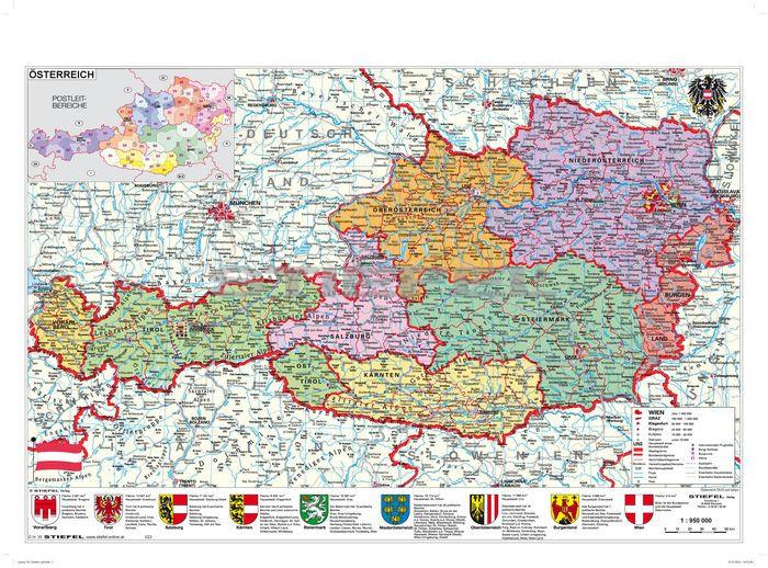 ausztria megye térkép Ausztria közigazgatása / domborzata könyöklő   A Lurdy Ház  ausztria megye térkép