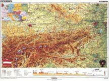 Ausztria domborzati + politikaii DUO , 160*120 cm, laminált, faléces