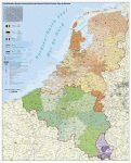 Benelux államok irányítószámos falitérképe 100*140 cm - lécezett