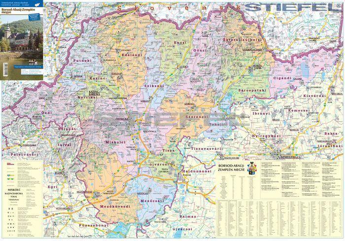 borsod megye térkép Borsod Abaúj Zemplén megye hajtogatott térkép   A Lurdy Ház  borsod megye térkép