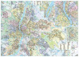 Budapest 140*100 cm falitérkép - térképtűvel szúrható, keretezett