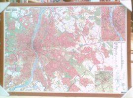 Budapest falitérkép 140*100 cm - térképtűvel szúrható, keretezett