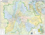 Budapest országgyűlési választókerületeinek falitérképe 2014 - tűzdelhető keretezett