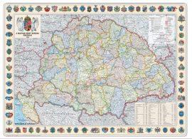 A Magyar Szent Korona Országai falitérkép 1914 68*48 cm (fóliázott, keretezett)