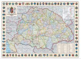 A Magyar Szent Korona Országai falitérkép 1914 70*50 cm (fóliázott, keretezett)