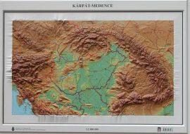 Kárpát-medence domború térkép (keretezett)