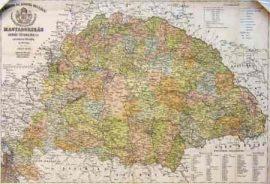 Antik Magyarország falitérkép 1876 (fóliázott, keretezett)