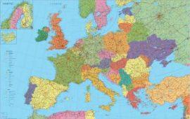 Európa falitérkép 140*90 cm - fém léces