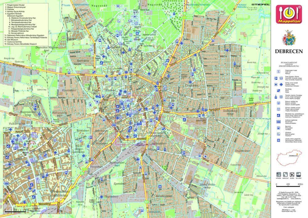 debrecen domborzati térkép Debrecen tányéralátét könyöklő + hátoldalán Debrecen várostérképe  debrecen domborzati térkép