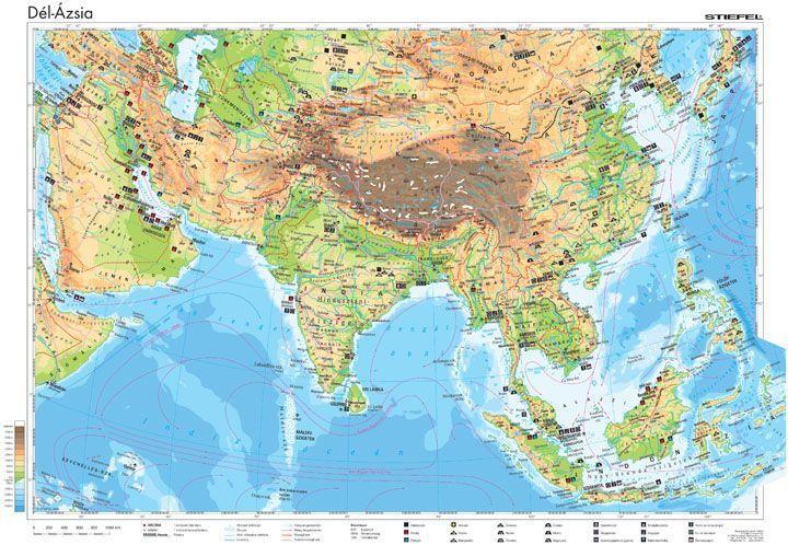 ázsia térkép Dél Ázsia gazdasága, 160*120 cm, laminált, faléces   A Lurdy Ház  ázsia térkép