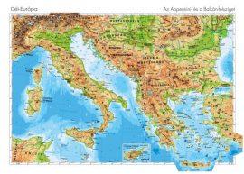 Dél--Európa domborzata -140*100 cm-laminált,faléces