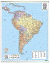 Dél-Amerika közigazgatás falitérkép 99*125 cm - íves papír
