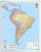 Dél-Amerika közigazgatás falitérkép 99*125 cm - laminált vagy lécezett