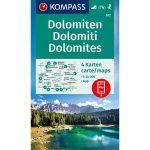 Dolomiten - Dolomites - Dolomiti - Dolomitok 4 db-os túra-, kerékpáros- és sítérkép - 672