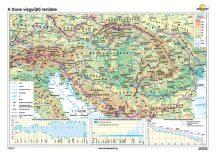 A Duna vízgyűjtő területe iskolai falitérkép - egyoldalas - választható méret, nyelv - fóliás, alul-felül faléces