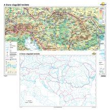 A Duna vízgyűjtő területe / vaktérkép iskolai falitérkép - kétoldalas - választható méret, nyelv - fóliás, alul-felül faléces