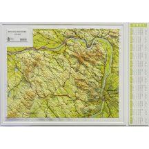 Dunazug-hegyvidék (Gerecse, Pilis, Budai-hegység, Vértes) domború térkép (keretezett)