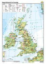 Az Egyesült Királyság és Írország iskolai falitérkép - egyoldalas - választható méret, nyelv - fóliás, alul-felül faléces