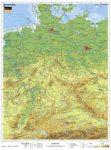 Németország, domborzati + vaktérkép DUO (német nyelvű) -115*160 cm-laminált,faléces