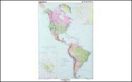 Észak- és Dél-Amerika politikai térképe (angol), 100*140 cm, laminált, faléces