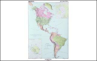 Eszak Es Del Amerika Politikai Terkepe Angol 100 140 Cm