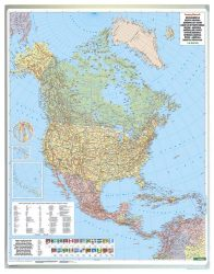 Észak-Amerika közigazgatás falitérkép 99*125 cm - íves papír