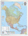 Észak-Amerika közigazgatás falitérkép 99*125 cm - laminált vagy lécezett