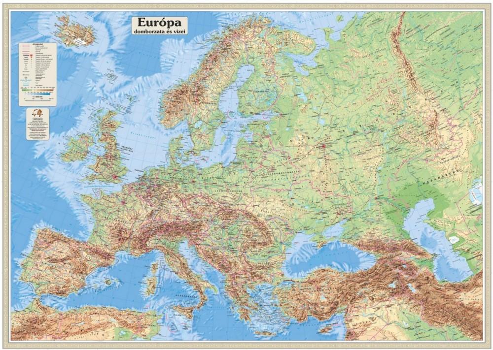 európa domborzata térkép Európa domborzata és vizei falitérkép 125*90 cm   íves papír   A