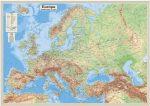 Európa domborzata és vizei falitérkép 125*90 cm - térképtűvel szúrható, keretezett