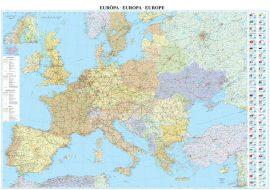 Európa országai falitérkép 122*86 cm - tűzdelhető keretezett