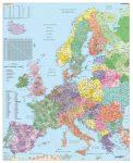 Európa irányítószámos falitérképe 100*140 cm - tűzdelhető keretezett