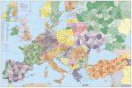Európa irányítószámos falitérképe Törökországgal 140*100 cm - tűzdelhető keretezett
