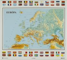 Európa domború térkép - magyar nyelvű