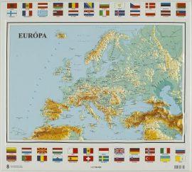 Európa domború térkép - magyar nyelvű (keretezett)
