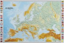 Európa felszíne domború térkép - magyar nyelvű (keretezett)