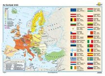 Az Európai Unió iskolai falitérkép - egyoldalas - választható méret, nyelv - fóliás, alul-felül faléces
